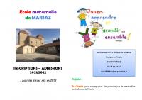 livret admission inscription Ecole maternelle MARSAZ
